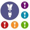 Safety belt icons set