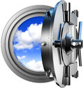 Safety cloud computing d illustration Royalty Free Stock Photos