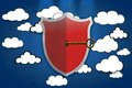 Safety cloud illustration with shield signal on Stock Photo