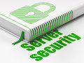 Safety concept book closed padlock server with green icon and text security on floor white background d render Royalty Free Stock Image
