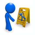 Safety Concept, Man Looking at Danger Sign Royalty Free Stock Photos