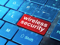 Safety concept wireless security on computer keyboard background with word enter button d render Royalty Free Stock Photography