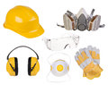 Safety equipment isolated on white Royalty Free Stock Photo