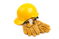 Safety equipment on the white background Stock Photography