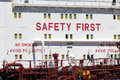 Safety first message on an oil tanker Stock Photos