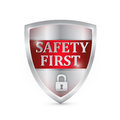 Safety first shield illustration design over white Stock Photos