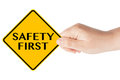 Safety First  traffic sign with hand Royalty Free Stock Photo