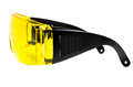 Safety glasses photo yellow protective spectacles on white background isolated close up full face Royalty Free Stock Photos