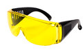 Safety glasses photo yellow protective spectacles on white background isolated close up full face Stock Photography