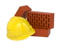 Safety Helmet and Bricks. Royalty Free Stock Images