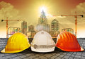 Safety helmet and building construction sketching on paper work use for construction industry business and architecture engineeri
