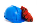 Safety helmet and gloves isolated on white background Royalty Free Stock Photography
