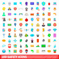 100 safety icons set, cartoon style