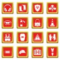 Safety icons set red