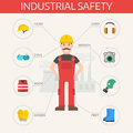 Safety industrial gear kit and tools set flat vector illustration. Body protection worker equipment elements infographic Royalty Free Stock Photo