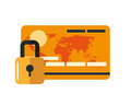 Safety lock and  credit card  icon Royalty Free Stock Photo