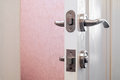Safety lock or security on a toilet s door Stock Photos