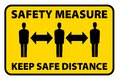 Safety measure keep a safe distance sign Royalty Free Stock Photo