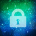 Safety padlock icon computer digital data code background
