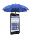 Safety of personal data one smartphone under an umbrella concept security computer d render Royalty Free Stock Photos
