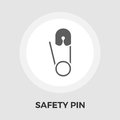 Safety pin vector flat icon