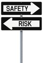 Safety or risk conceptual one way street signs on and Royalty Free Stock Images