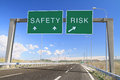 Safety or risk make a choice billboard on highway Stock Image