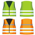 Safety road vest, waistcoat with reflective stripes vector set