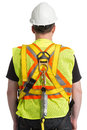 Safety tether spring hook worker uniform with protection awareness Stock Photos