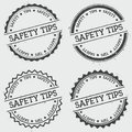 Safety tips insignia stamp isolated on white.