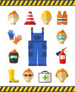 Safety at work. Job safety flat icons. Protective Royalty Free Stock Photo
