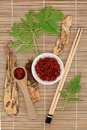 Saffron and angelica chinese herbal medicine of spice herb root with leaf sprigs over bamboo background Stock Image