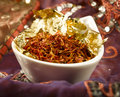 Saffron bowl with on gold in an arabic setting Royalty Free Stock Photos