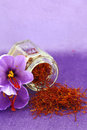 Saffron flowers dried spice and flower Stock Photo