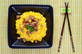 Saffron Risotto with Curry Pork Stock Image