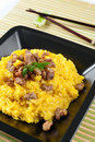 Saffron Risotto with Curry Pork Royalty Free Stock Images