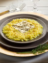 Saffron risotto with gold leaf Royalty Free Stock Photos