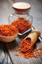 Saffron in wooden bowl on background Royalty Free Stock Image