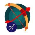 Sagittarius astrology sign isolated on white. Horoscope zodiac symbol Royalty Free Stock Photo