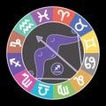 Sagittarius zodiac sign. Aquarius, libra, leo, taurus, cancer, pisces, virgo, capricorn, aries, gemini, scorpio. Astrological Royalty Free Stock Photo