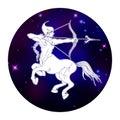 Sagittarius zodiac sign, horoscope symbol, vector illustration Royalty Free Stock Photo