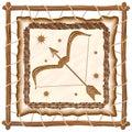 Sagittarius Zodiac Sign on Native Tribal Leather Frame Royalty Free Stock Photo