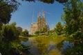 Sagrada família basilica spain sargrada familia taken from park using mm fish eye lens should be finished by Stock Image