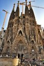 Sagrada familia in barcelona construction of the church of the featuring spires and tower cranes Royalty Free Stock Image