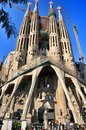 Sagrada familia in barcelona construction of the church of the featuring spires and tower cranes Royalty Free Stock Photo