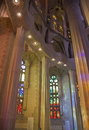 Sagrada familia internal view of basilica de la barcelona Royalty Free Stock Images