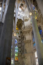 Sagrada familia internal view of basilica de la barcelona Royalty Free Stock Photos
