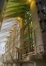 Sagrada familia internal view of basilica de la barcelona Royalty Free Stock Photography