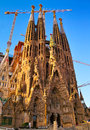 Sagrada familia temple construction in barcelona Royalty Free Stock Photography