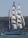 Sagres tall ship in Tagus river Royalty Free Stock Photos